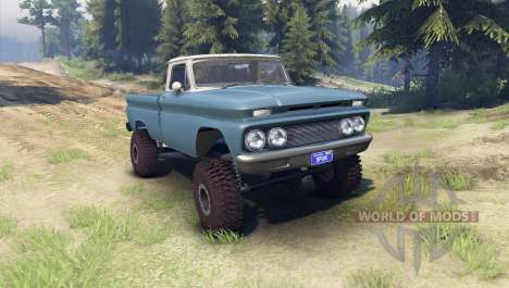 Chevrolet С-10 1966 Custom two tone marina blue for Spin Tires