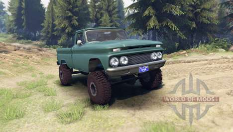 Chevrolet С-10 1966 Custom tropic turquoise for Spin Tires