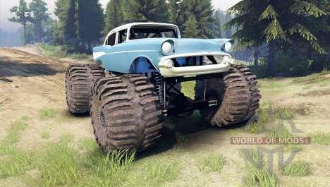 Chevrolet Bel Air 1955 Monster blue for Spin Tires