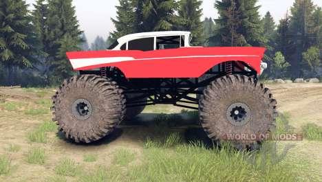 Chevrolet Bel Air 1955 Monster red for Spin Tires