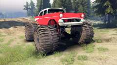 Chevrolet Bel Air 1955 Monster red for Spin Tires