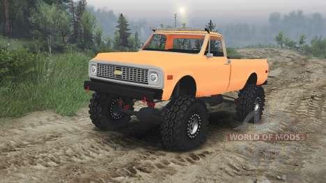 Chevrolet C10 Cheyenne 1972 [orange] for Spin Tires