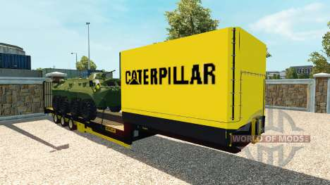 Low-bed semi-trailer with armoured personnel car for Euro Truck Simulator 2