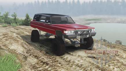 Cadillac Hearse 1975 [monster] [blood red and bl for Spin Tires