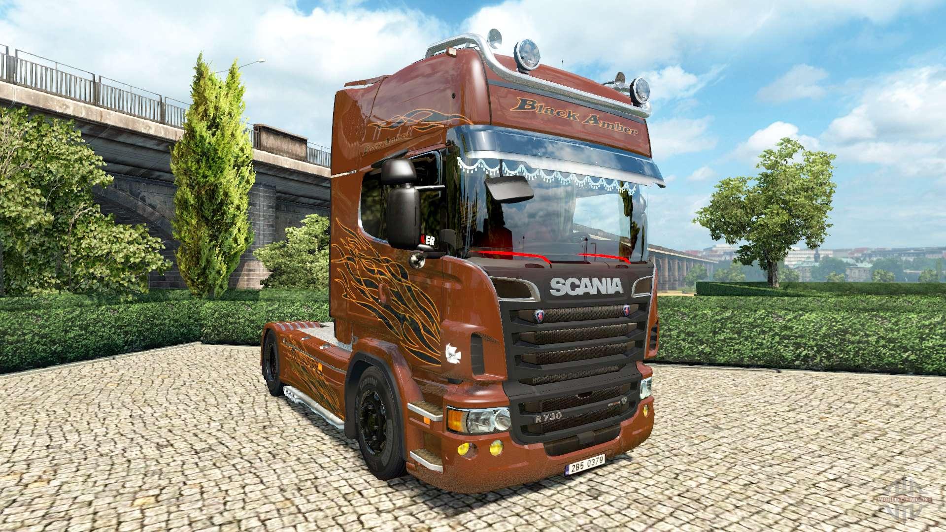 scania r black amber v2 5 for euro truck simulator 2. Black Bedroom Furniture Sets. Home Design Ideas