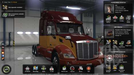 The maximum level, money and the open card for American Truck Simulator