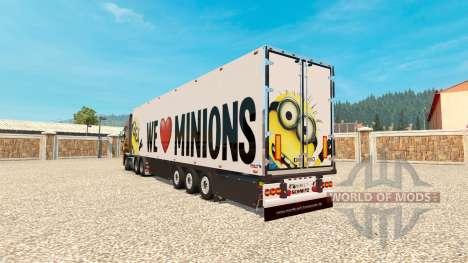Minion Fan skin v2.0 on the semi-trailer for Euro Truck Simulator 2
