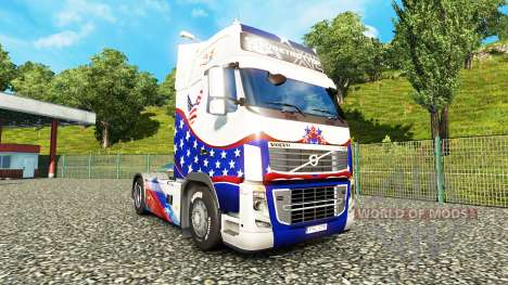 Skin Stars & Stripes on a Volvo for Euro Truck Simulator 2