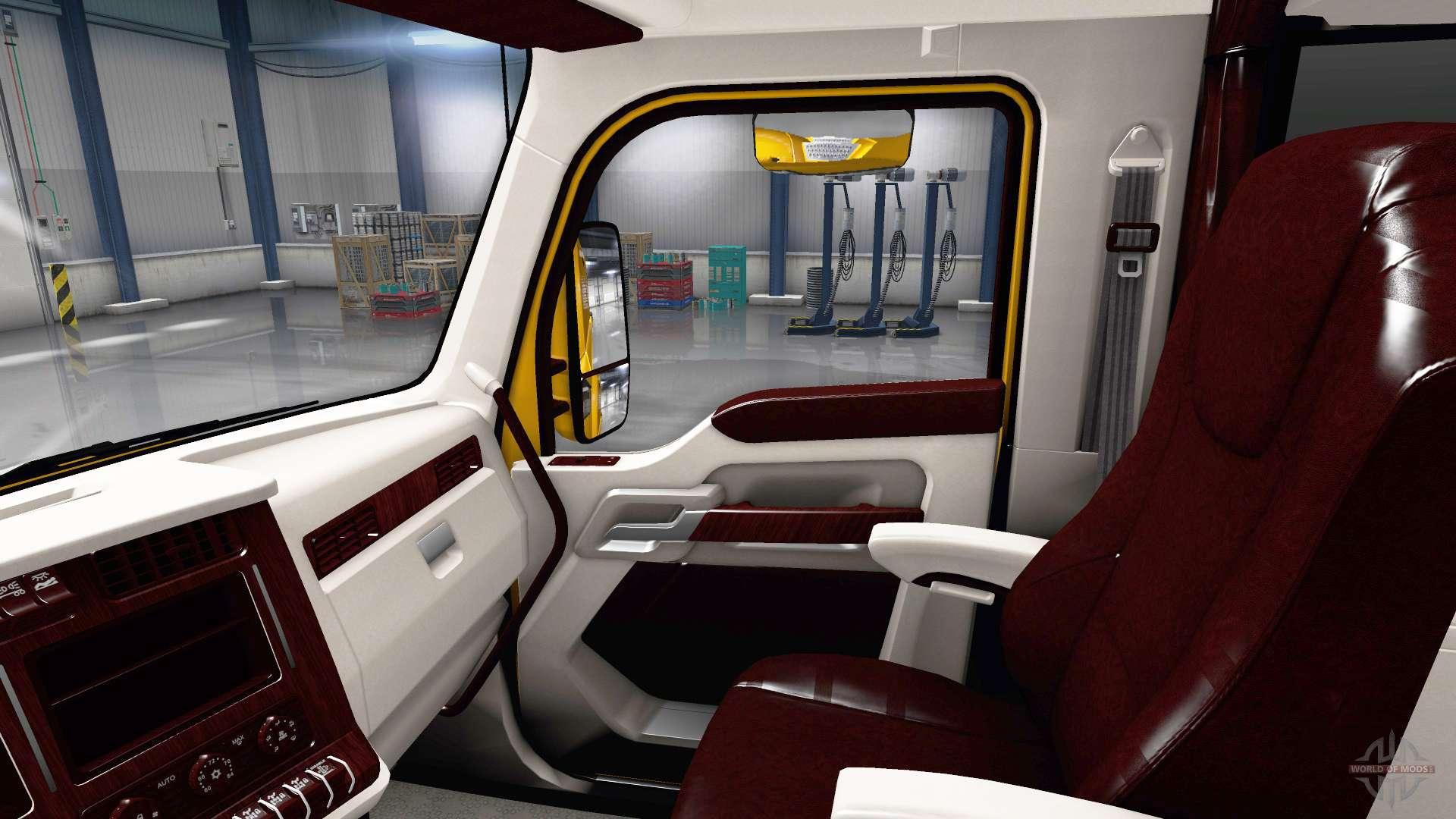 White kenworth t680 interior for american truck simulator