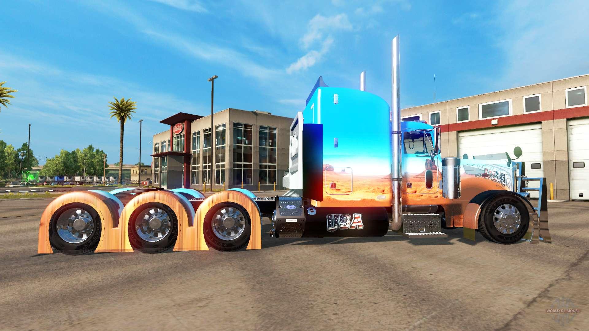 Skin Caveira On Tractor Peterbilt 379 For American Truck
