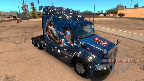 Captain America skin for the truck Peterbilt 579 for American Truck Simulator