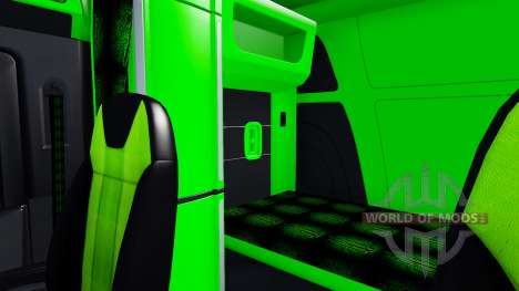 Neon green color interior Peterbilt 579 for American Truck Simulator