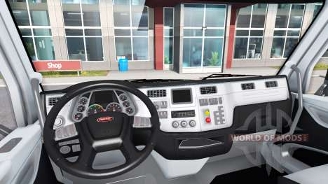 Black and white interior in a Peterbilt 579 for American Truck Simulator