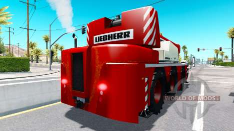 Mobile crane Liebherr in traffic for American Truck Simulator