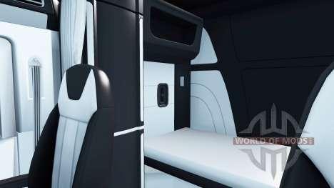 Black and white interior in a Peterbilt 579 for American Truck Simulator
