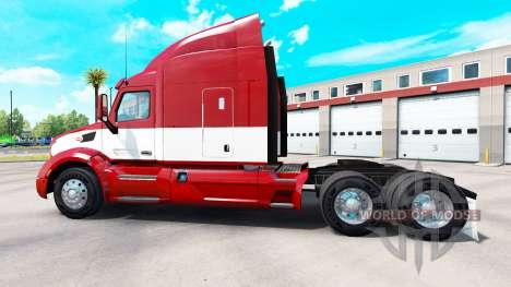 Red-white skin for the truck Peterbilt for American Truck Simulator