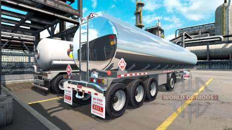 The chrome-plated tank semitrailer Heil [4 axles for American Truck Simulator