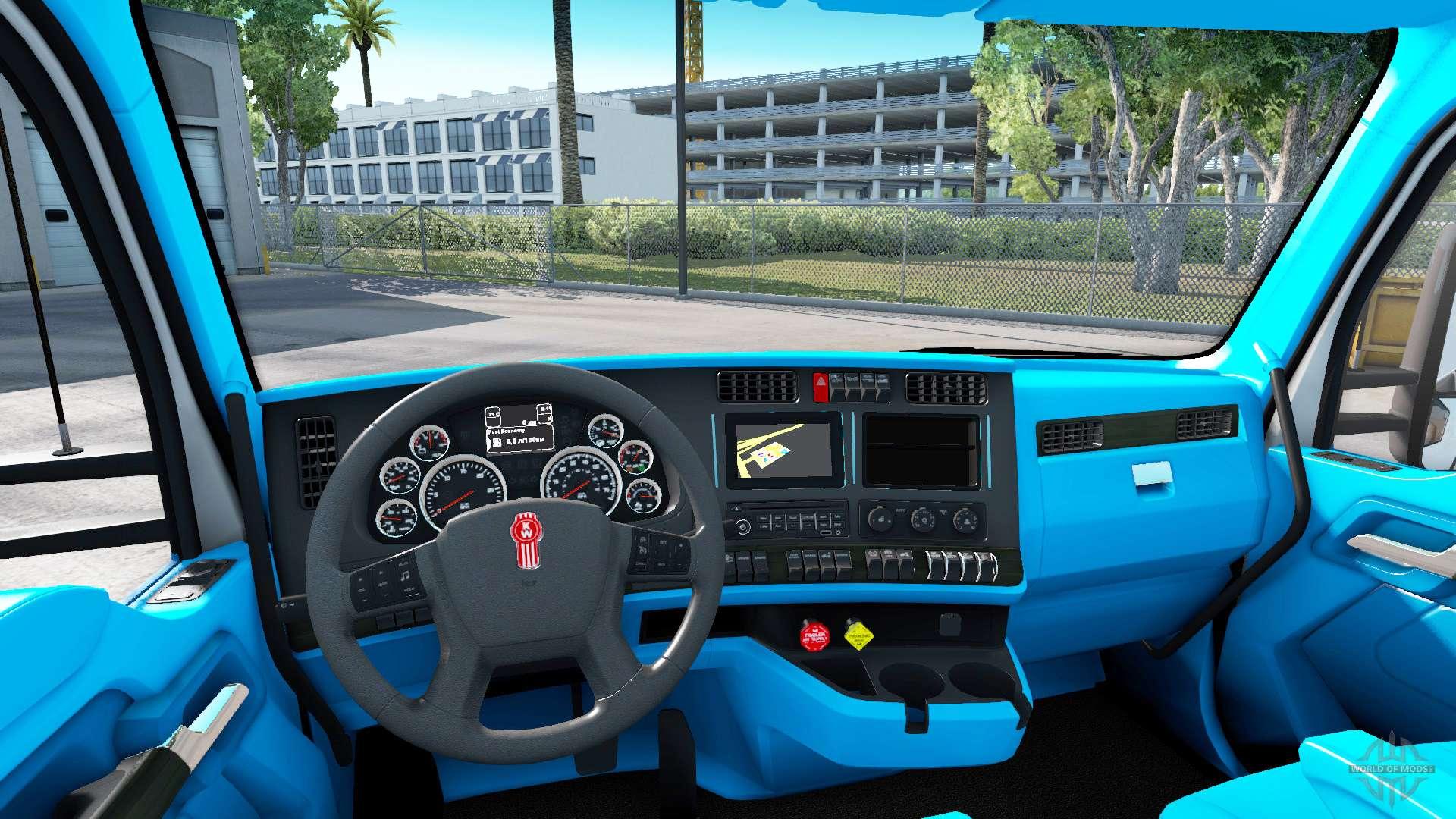 Blue kenworth t680 interior