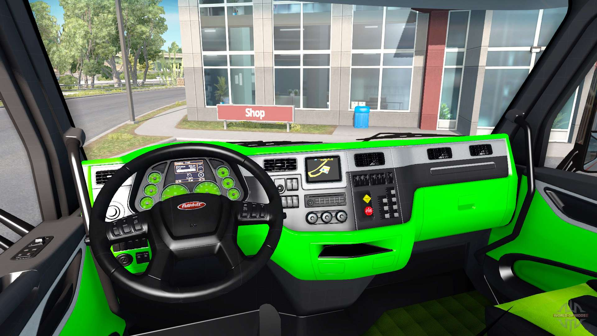 neon green color interior peterbilt 579 for american truck