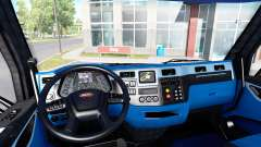Black and blue interior in a Peterbilt 579
