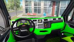 Neon green color interior Peterbilt 579