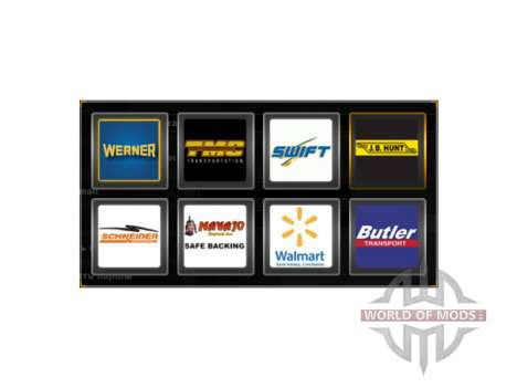 Logos of companies in the U.S. for American Truck Simulator