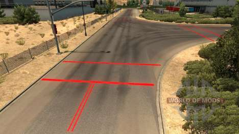 Red road markings for American Truck Simulator