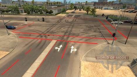 Red road markings for American Truck Simulator