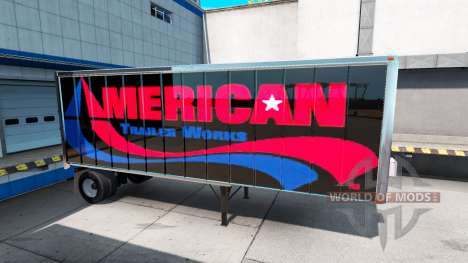 Skins UPS and American Trailer Works on the trai for American Truck Simulator