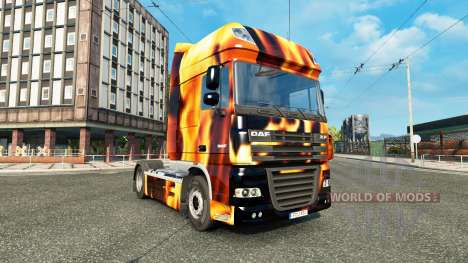 Skin Fire on the truck DAF for Euro Truck Simulator 2
