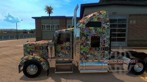 Sticker Bomb скин для Kenworth W900 for American Truck Simulator