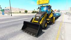 Backhoe loader in traffic
