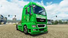 Raiffeisen skin on the truck MAN for Euro Truck Simulator 2