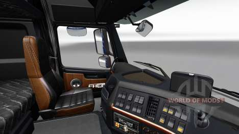 Black-and-brown interior of the Volvo for Euro Truck Simulator 2