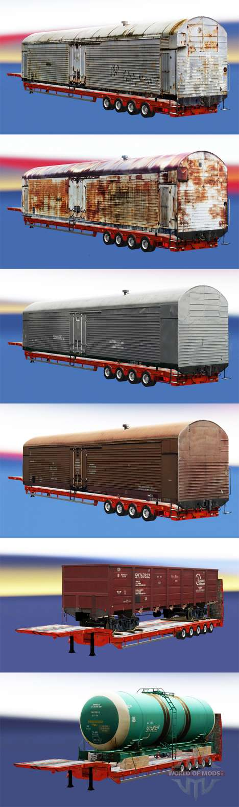 Semi-trailers with zeleznodoroznyj compositions for Euro Truck Simulator 2