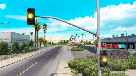 Long yellow lights of the traffic light for American Truck Simulator