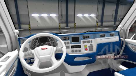 White and blue interior in a Peterbilt 579 for American Truck Simulator