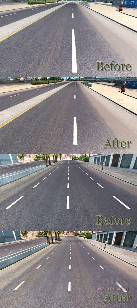 Improved road markings for American Truck Simulator