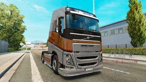 Silver Transports skin for Volvo truck for Euro Truck Simulator 2