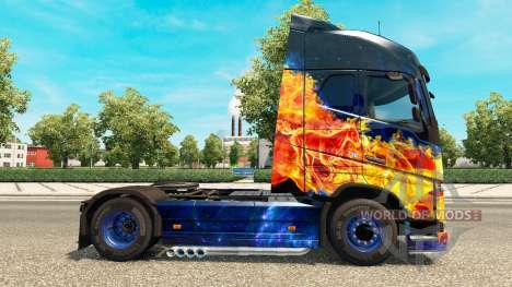 Blue Fire skin for Volvo truck for Euro Truck Simulator 2