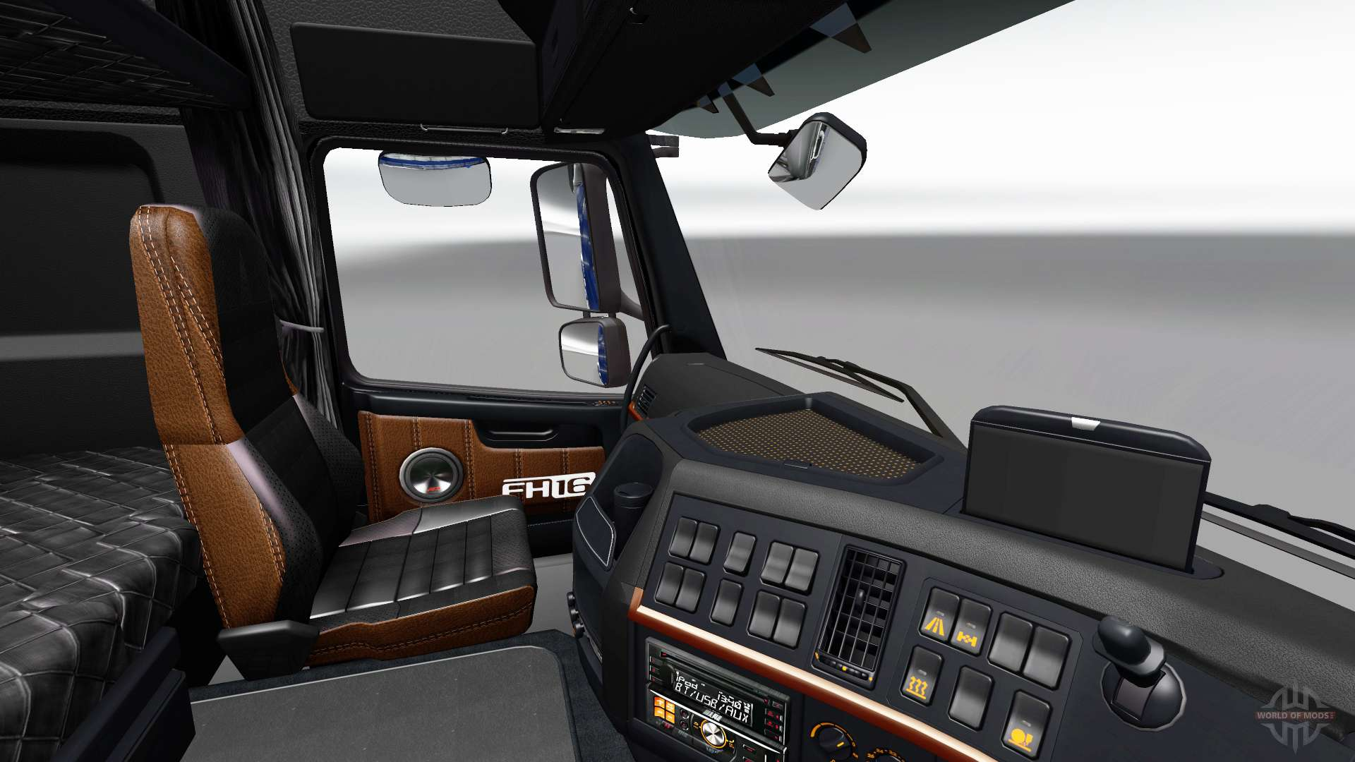 Black and brown interior of the volvo for euro truck simulator 2