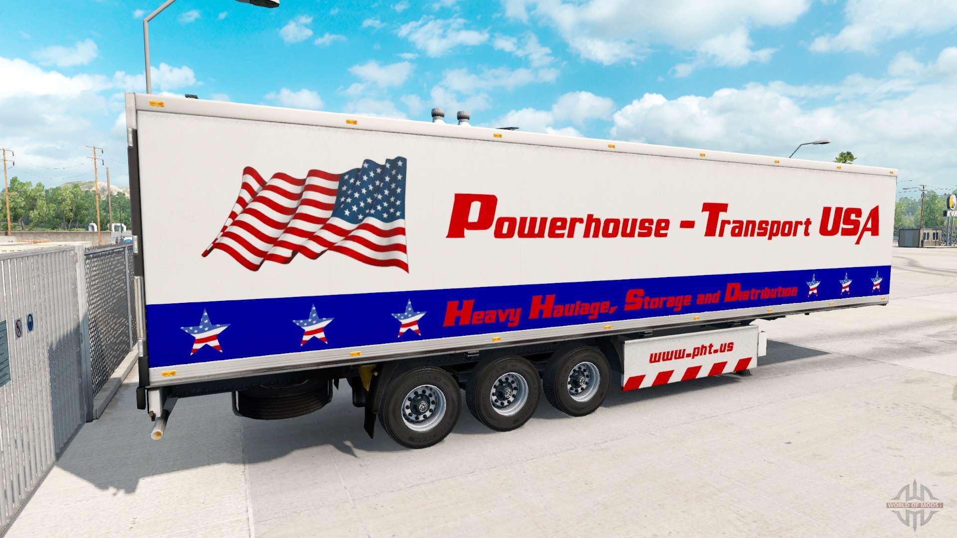 Powerhouse transport semi trailer usa for american truck simulator