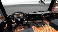 Black and orange interior for Scania