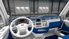 White and blue interior in a Peterbilt 579
