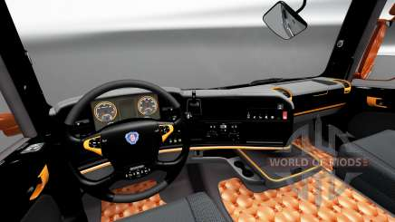 Black and orange interior for Scania for Euro Truck Simulator 2