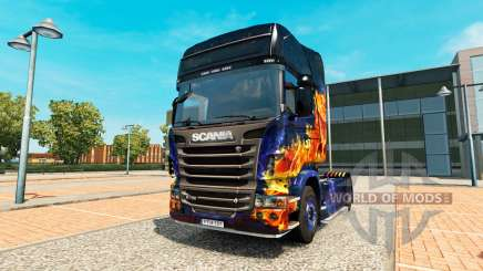 Blue Fire skin for Scania truck for Euro Truck Simulator 2