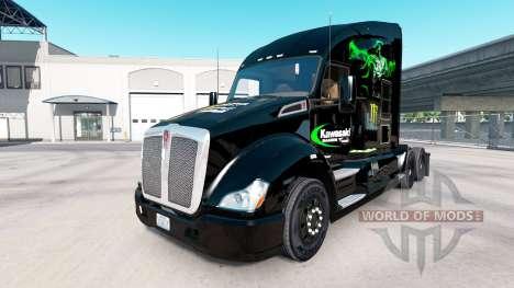 Skin Kawasaki Racing Team on a Kenworth tractor for American Truck Simulator