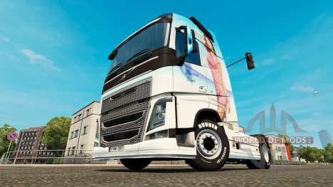 Miranda Kerr skin for Volvo truck for Euro Truck Simulator 2