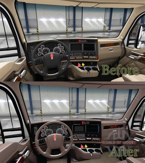 Luxury brown interior Kenworth T680 for American Truck Simulator