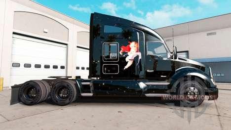 Skin Power Girl on tractor Kenworth for American Truck Simulator